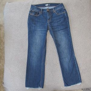 Old Navy Cropped Raw-Edged Flare Ankle Jeans